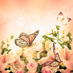 Beautiful flower and butterfly, blured and colored