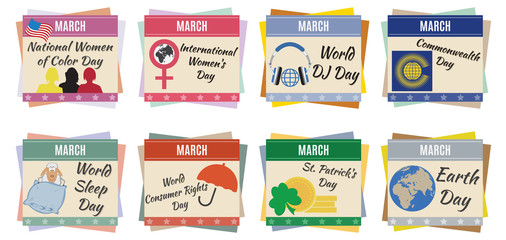 World holidays. March