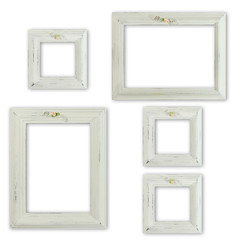 Collection of shabby chic distressed picture frames