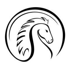 Vector silhouette of a horse head.
