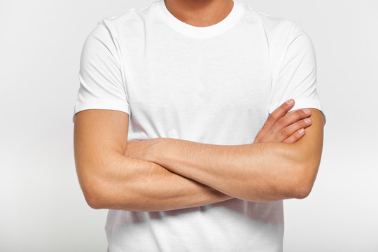 Close up of man in white t-shirt