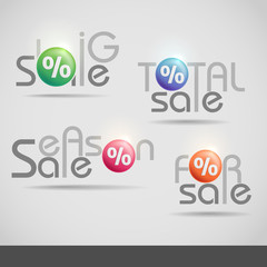 Colorful Vector Set Of Sale Icons.
