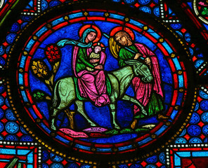 Fototapete - Holy Family at Christmas - Stained glass