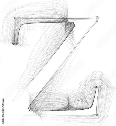 Hand draw font  LETTER z  Vector illustration
