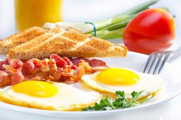 Deurstickers Gebakken Eieren Continental breakfast.