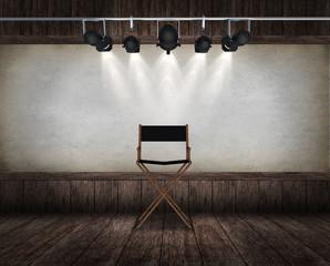 Chair in room interior vintage. 3d render