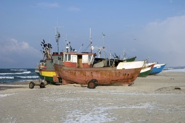Fishing vessels on beach