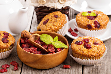 Muffins with dried berries