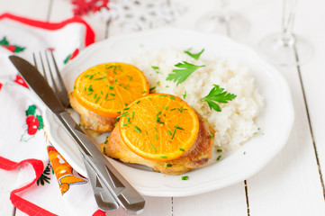 Spiced Orange Roast Chicken with Rice, christmas atmosphere