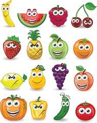 Мультфильм фруктов с разными эмоциями