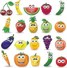 Мультяшные фрукты и овощи с разными эмоциями
