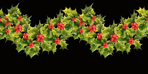 Christmas Holly Watercolor seamless background