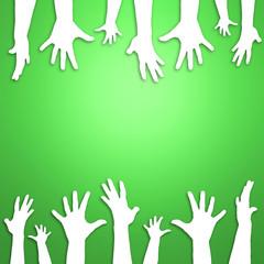 Grüner Hintergrund Hände oben und unten