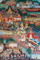 THAI MURAL PAINTING ON THE WALL