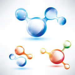 abstract molecule shape, glossy icons set
