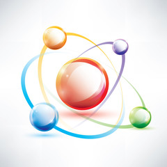 atom structure, abstract glossy icon, science and energy concept