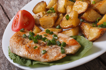 slices of fried potatoes with chicken steak and vegetables
