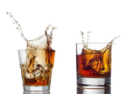 whisky splash isolated on a white background