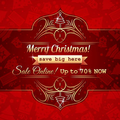 red christmas background and label with sale offer, vector