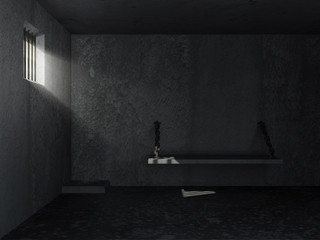 Old Grunge Prison Interior with sun rays