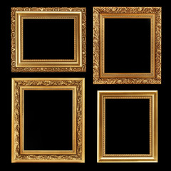 Vintage decorative antique frames, isolated on black background