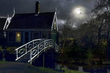 Poster Full moon village. Netherlands
