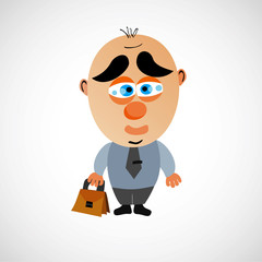 Vector cartoon businessman with a big bald head.