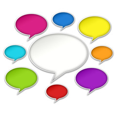 Colorful Chat Bubbles Conversation on White Background