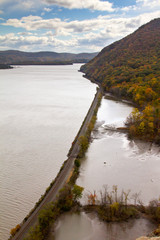 Railroad train tracks along the Hudson River Valley