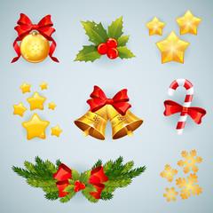 Christmas realistic festive set of items