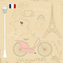 Foto auf Gartenposter Doodle Vector set of Paris symbols on vintage old papers.