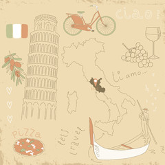 Vector set of Italy symbols on vintage old papers.