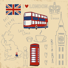 Foto auf Gartenposter Doodle Vector set of London symbols on vintage old papers.