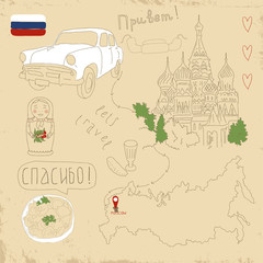 Papiers peints Doodle Vector set of Moscow symbols on vintage old papers.
