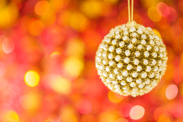 Christmas decoration on red blurred background