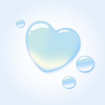 Pure water drop in shape of heart