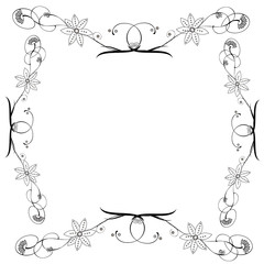 Abstract flower frame vector