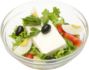 Fresh green salad with potatoes and cheese