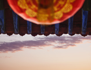 Fotobehang Vintage Poster Roof of the pagoda, Chinese architecture, Shanxi Province, China