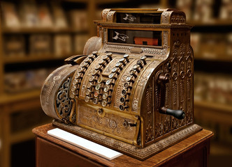 Old-time cash register in a shop.