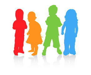 Four children in diffrent color. Vector.