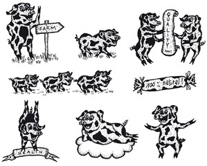 Pig Food Signs And Banners Set