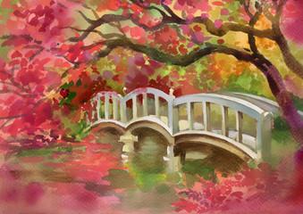 Bridge over the river. Watercolor picture