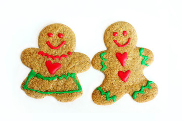 Man and Woman Christmas Gingerbread Cookies Isolated on White
