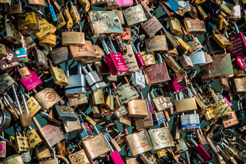 Locks of love at Paris bridge