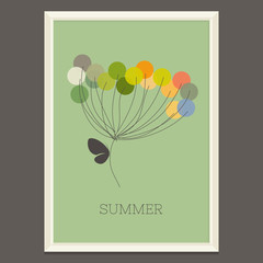Colorful summer flower with butterfly. Vector illustration