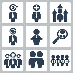 Vector business and partnership icons set
