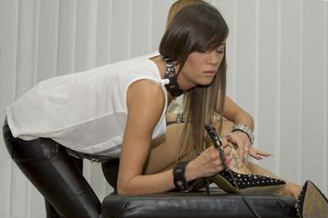 Beautiful sexy  professional tattoo master
