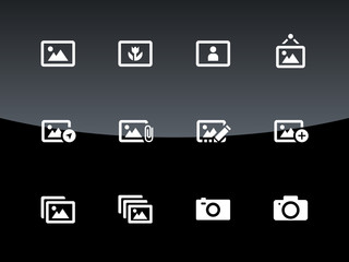 Photographs and Camera icons on black background.