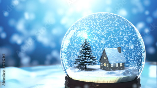 u0026quot christmas snow globe snowflake with snowfall on blue background u0026quot  stock footage and royalty
